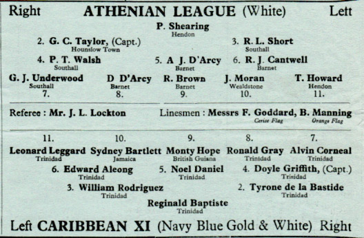 Athenian League v. Caribbean XI Line-up