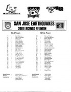 San Jose Earthquakes, 2001 Legends Reunion