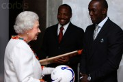 Queen Elizabeth greets Lara and Yorke